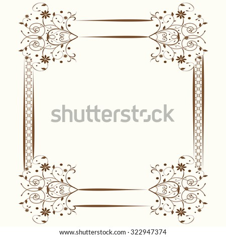 Vintage invitation card with elegant retro abstract floral design with border - stock vector