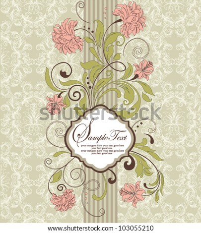 vintage invitation card with floral background and place for text - stock vector