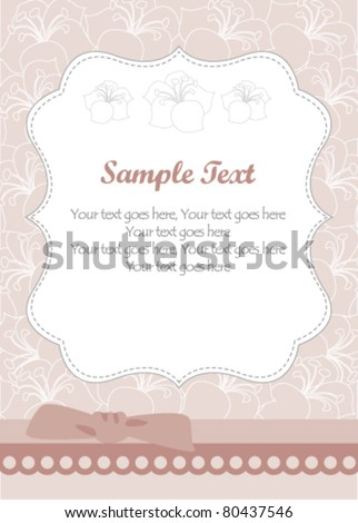 Vintage invitation card with flower pattern
