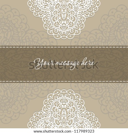 Vintage invitation card with lace ornament and vintage label design.