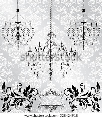 Vintage invitation card with ornate elegant abstract floral design, black and white on gray with chandeliers. Vector illustration. - stock vector