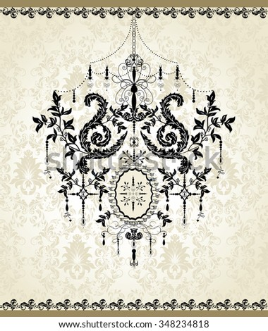 Vintage invitation card with ornate elegant abstract floral design, black on gray with chandelier. Vector illustration.