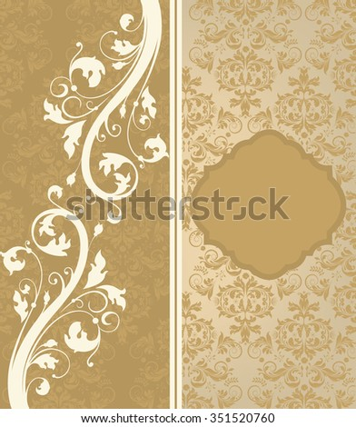 Vintage Invitation Card With Ornate Elegant Retro Abstract Floral Design Beige And Light Brown Flowers