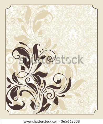 Vintage invitation card with ornate elegant retro abstract floral design, chocolate brown flowers and leaves on faded yellow green background with frame border. Vector illustration. - stock vector