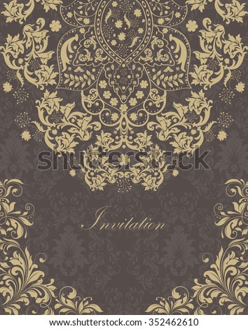 Vintage invitation card with ornate elegant retro abstract floral design, light brown flowers and leaves on gray and dark gray background with text label. Vector illustration.