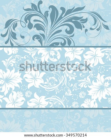 Vintage invitation card with ornate elegant retro abstract floral design, teal blue and white flowers and leaves on light blue background. Vector illustration.