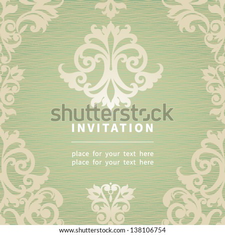 Vintage invitation card with retro ornament. Template frame design for card. You can place your text in the empty place.
