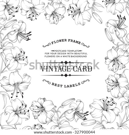 Vintage invitation card with white flowers. Card template with text and flower frame. Vector illustration. - stock vector