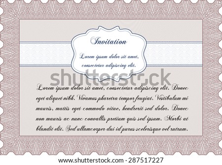 Vintage invitation template. Cordial design. With great quality guilloche pattern. Customizable, Easy to edit and change colors.