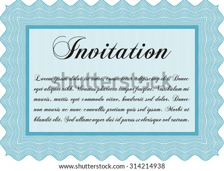 Vintage invitation template. With complex linear background. Vector illustration.Superior design.  - stock vector
