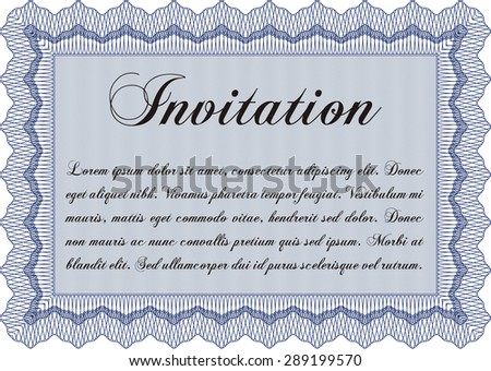 Vintage invitation template. With great quality guilloche pattern. Detailed.Beauty design.  - stock vector