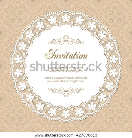 Vintage Invitation Template Lacy Doily On Stock Vector 427890613 ...