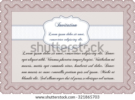 Vintage invitation. Vector illustration.With background. Retro design.