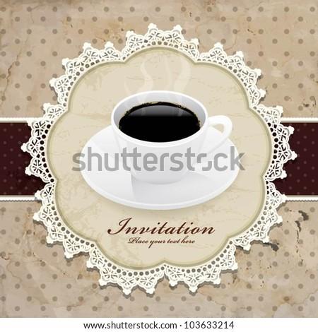 Vintage invitation with coffee design - stock vector