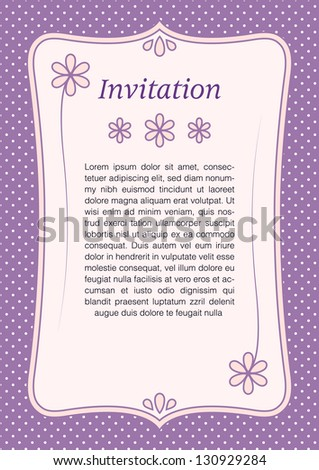 Vintage invitation with flowers and purple polka dotted background - stock vector
