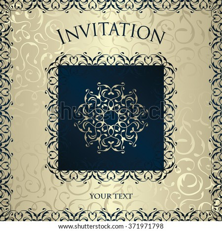 Vintage invitation with ornate elegant retro abstract floral design. Silver background with blue frame. Vector illustration