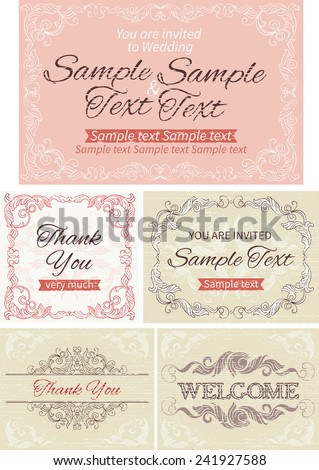 Vintage invitations and frames. Vector banners with inscriptions  at retro style - stock vector