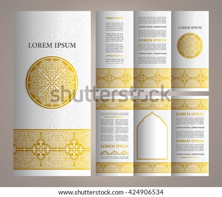 Vintage islamic style brochure and flyer design template with logo, creative art elements and ornaments for design and decoration
