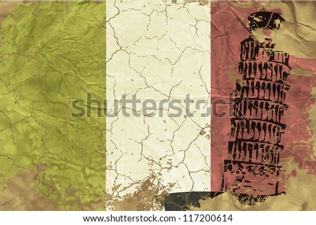 Vintage Italian flag - stock vector