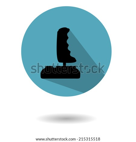 Vintage joystick of 80th in the form of flat icon on a white background with shadow - stock vector