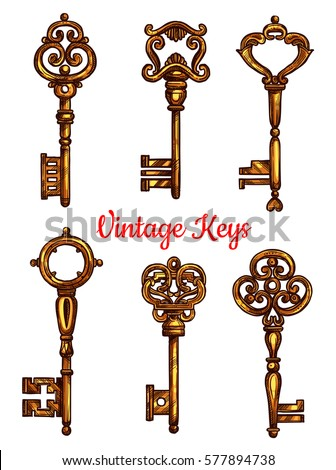 Skeleton key stock images royalty free images vectors for Door key design