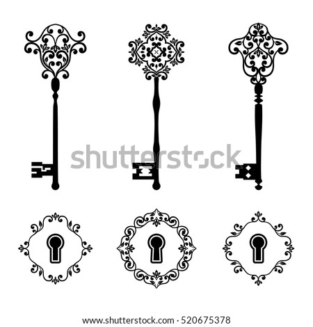 Vintage keys and keyholes set in black color isolated on white. Vector illustration.