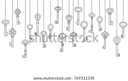 Vintage keys icons set hanged in a row, outlines, isolated on a white background, seamless pattern. Vector illustration.