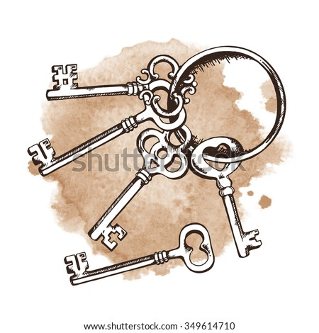 Vintage keys on ring over watercolor background. Isolated Vector illustration - stock vector