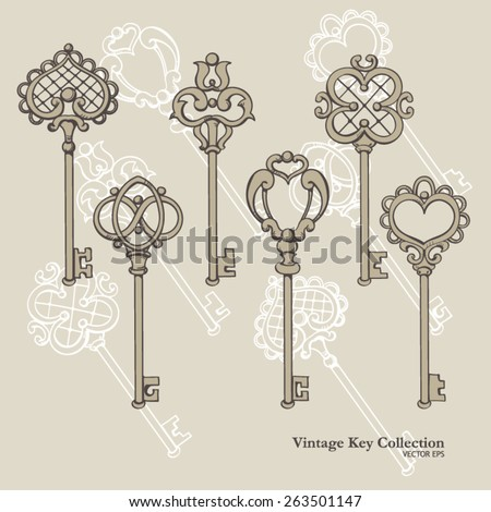 Vintage Keys Vector Set