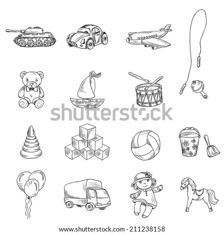 Vintage kids toys sketch icons set of teddy bear doll airplane car isolated vector illustration. - stock vector