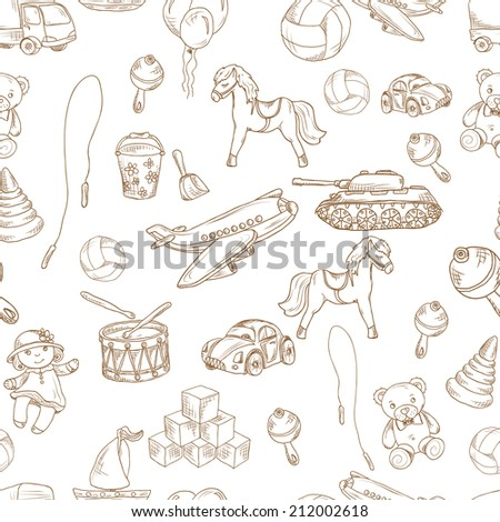 Vintage kids toys sketch seamless pattern with blocks balloon jumping rope vector illustration. - stock vector