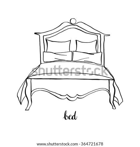 Vintage king-size bed/ Vintage furniture/ Interior design elements/ Hand drawn ink sketch illustration isolated on white background - stock vector