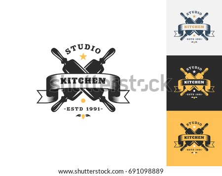 kitchen logo design vintage kitchen logo design template vector เวกเตอร สต อก 2247