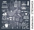 Vintage kitchen set in vector on chalkboard background. Stylish design elements: pepper-box, fork, spoon, bowl, pan, mixer, scales, colander, knife and others - stock photo