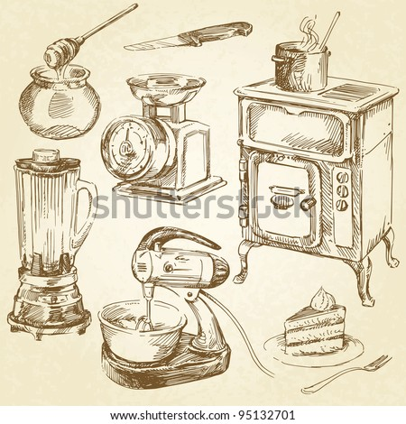 vintage kitchenware, cookware - hand drawn set - stock vector
