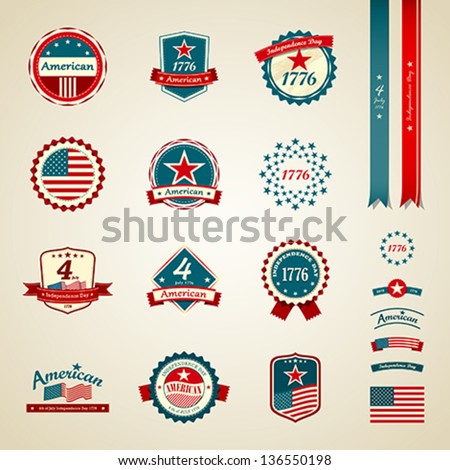 Vintage label and ribbons award collections, independence day american, vector illustration - stock vector