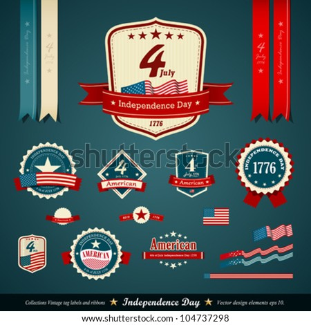 Vintage label and ribbons set,  independence day, vector illustration - stock vector