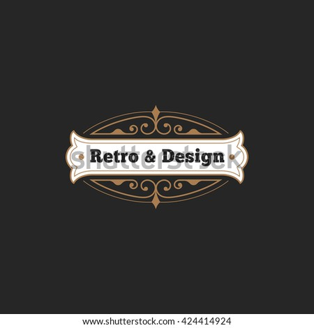 Vintage Label Badge Logo design vector elements template with floral decor frame. Luxury Retro Classic style Logotype concept icon - stock vector