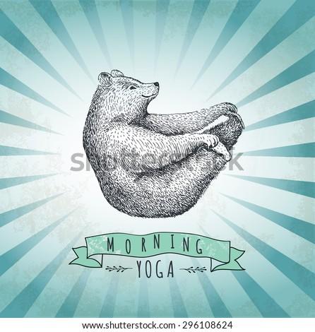 Vintage label bear. Design for T-Shirt. handmade illustration vector label sketch bear. Eps10 - stock vector