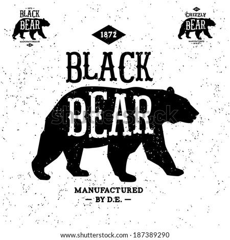 vintage label bear ( T-Shirt Print ) - stock vector