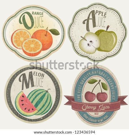 Vintage Label Collection with Fruit illustrations. Fruit label set in retro style. Orange, Apple, Cherries and Melon cartoon style illustrations. - stock vector