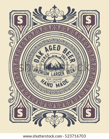 Vintage label design for beer and Wine label