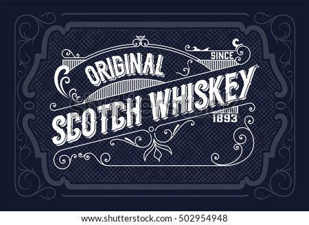 Vintage label design for Whiskey and Wine label, Restaurant banner, Beer label. Vector illustration