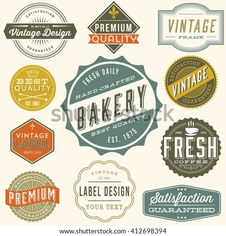 Vintage Label Design - Set of colorful vintage labels and design elements. Each design is grouped and colors are global for easy editing. - stock vector
