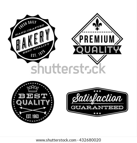 Vintage Label Designs - Set of vintage labels and design elements. Each design is grouped for easy editing. - stock vector