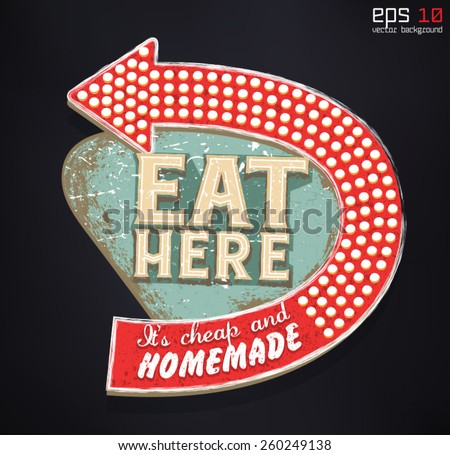 Vintage label /Eat here, it's cheap and homemade/ Vector illustration - stock vector