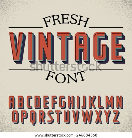 Vintage label font on dusty noise background - stock vector