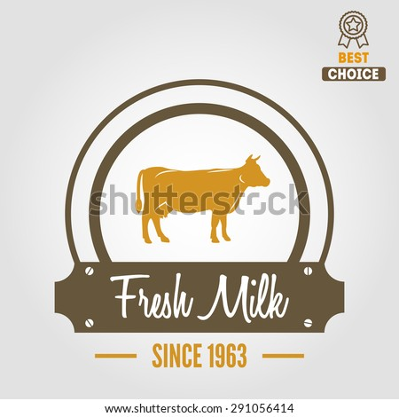 Vintage label, logo, emblem template of milk on background