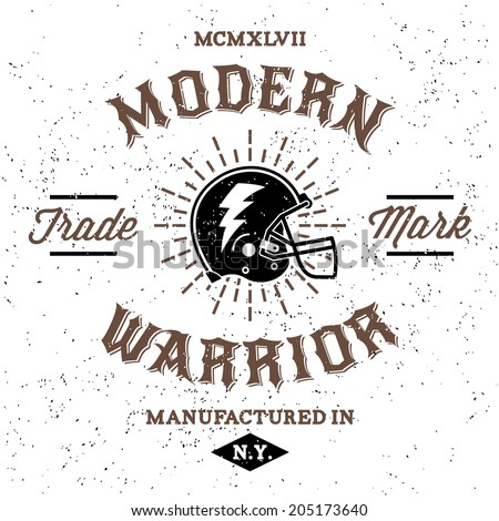 vintage label modern warrior (T-Shirt Print) - stock vector