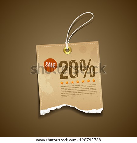 Vintage Label Ripped brown paper sale for business design background, vector illustration - stock vector